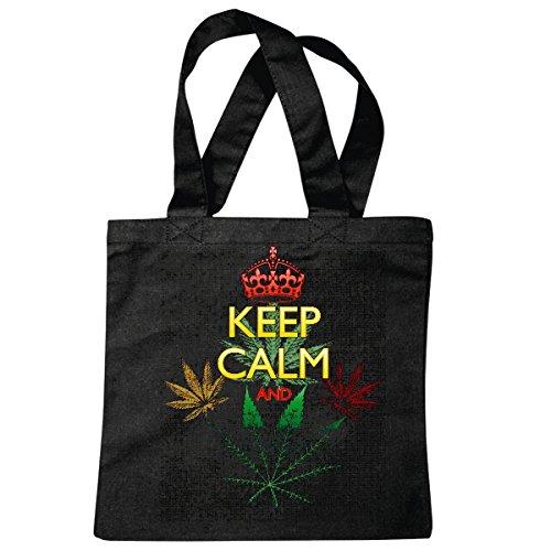 Reifen-Markt Bolsillo Bolso Bolsa Guarde la calma y AMOR Cannabis WEED disfrutar...