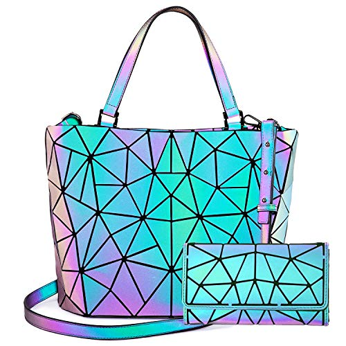 LOVEVOOK Geometrische Taschen, 2pcs Damen Handtasche Faltbare Geldbörse Set, Holographic Purse Leuchtende Brieftasche Shopper