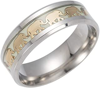 Jewelry Vintage Golden Elephant Band Rings for Men Women Luminous Stainless Steel Glow in The Dark