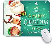ECOMAOMI 可愛いマウスパッド メリークリスマスおかしいサンタクロース赤い鼻のトナカイと雪のエルフの皮 滑り止めゴムバッキングマウスパッドノートブックコンピュータマウスマット
