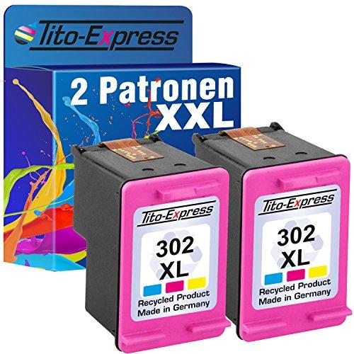 Tito-Express PlatinumSerie Set 2 Patronen für HP-302XL Deskjet 1110 2130 3630 3631 3632 3633 3634 3636 3637   Color je 21ml XXL-Inhalt