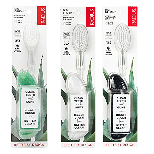 RADIUS Big Brush BPA Free & ADA Accepted Toothbrush Designed to Improve Gum Health & Reduce Gum Issues - Right Hand - Midnight Sky/ Marble/ Soda Pop Eco Grind - Pack of 3