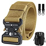 Mens Tactical Belt with Pouch, Heavy Duty Men's Military Belts with Tactical Accessories Pouch & Hook