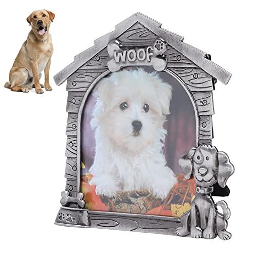 01 Marco de Fotos, Marco de exhibición de Fotos en Forma de casa Lindo con Panel de Vidrio para Perro o Cachorro para el hogar u Oficina