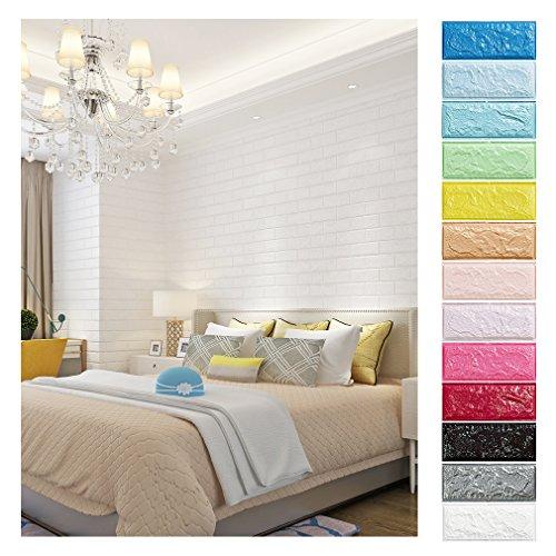 KINLO 10PCS DIY Pegatina de Pared Ladrillo 70 * 77 * 1CM Más Espeso Papel Pintado Autoadhesivo Panel Pared Impermeable PE Espuma Decoración de Pared(Color Blanco)