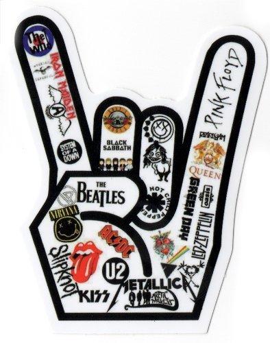 Musik Rock Hand feat. Iron Maiden, Black Sabbath, Motiv ACDC, U2, etc. Sticker für Skateboards, Snowboards, Scooter, BMX, Mountainbike, Laptop, iPhone, iPod, Gitarren usw.