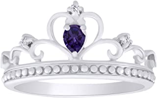 Pear Shape Simulated CZ Princess Crown Ring in 14K White Gold Over Sterling Silver