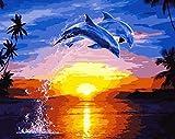 heyesupio Pintura por nmeros para Adultos Kit de Pintura acrlica DIY Color por nmeros para nios Sin Marco 16 * 20 Pulgadas, delfn