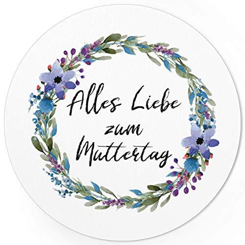 24 moderne Design Etiketten, rund/Alles Liebe zum Muttertag/Muttertag/Liebe/Herzen/Mama Geschenk/Geschenk-Aufkleber/Sticker/für Firmen