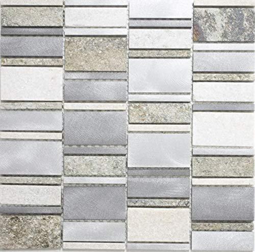 Mosaik Fliese Quarzit Naturstein Aluminium silber grau hellbeige Rechteck MOS49-505