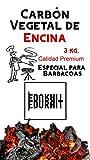 Carbón Vegetal Ecologico de Encina, para Barbacoas, Procedente de la Poda de Dehesas, Alto Poder calorífico, Larga Duración, Especial Barbacoas y Restaurantes. (Carbon 3Kg al envasado)
