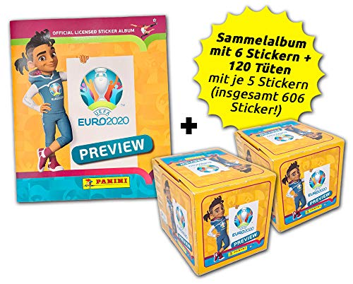.Panini UEFA Euro 2020™ The Official Preview Collection - Sticker - International Collector's Bundle - 120 Tüten + Album