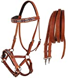 CHALLENGER Horse Western Padded Leather Beaded Bitless Sidepull Bridle Reins 77RT09TN-F