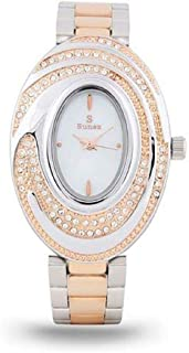 Sunex women's watch, analog, stainless steel, rose gold, white dial, S0350RGW