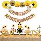 Party Inspo Sunflower Birthday Party Decorations Supplies Kit, Sunflower Happy Birthday Banner, Yellow Sunflowers Cupcake Toppers, Tissue Paper Fans, Pom Poms