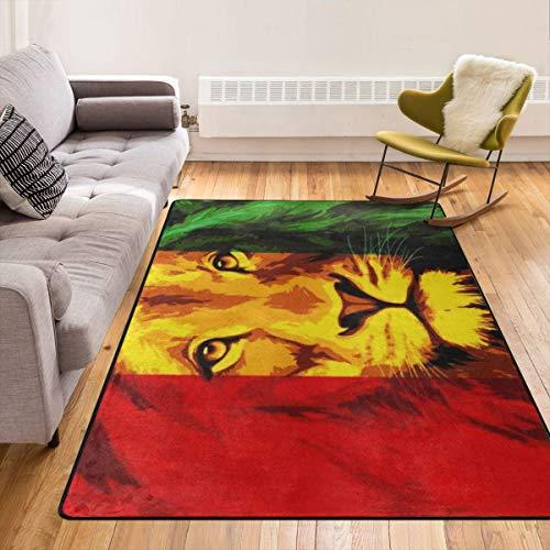 Super weiche moderne Reggae-Rasta-Flagge König der Löwen Teppiche Wohnzimmer Teppich Schlafzimmer Teppich für Kinder Spielen Solide Home Decorator Bodenteppich und Teppiche 210 x 150 cm