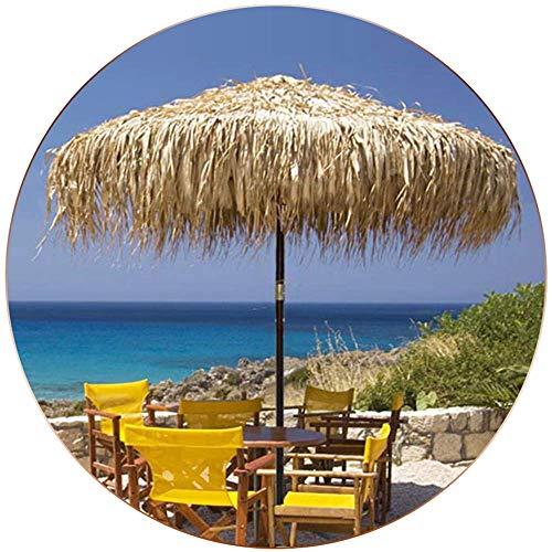 Paraguas Tiki de Paja de Color Natural de 6,8 pies / 8,2 pies Hojas de Girasol Naturales Tejidas a Mano Poste de Madera Maciza de 48 mm Redondo 8 Varillas / UPF50 +
