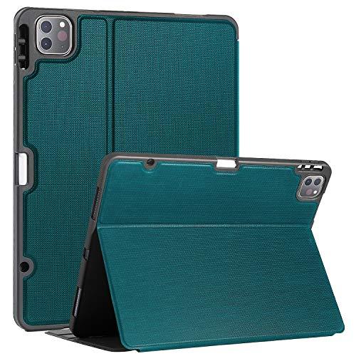 Soke Hülle für iPad Pro 12.9 Zoll 2020/2018, Buchcover Schutzhülle, kräftig TPU Rückseite mit Stifthalter, Unterstützung Auto Schlaf/Aufwach für iPad Pro 4. Generation, Blaugrün