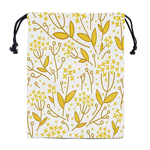 Leaf Drawstring Storage Bag Gym - Girls Grip Bags for Gymnastics Lightweight Dance Drawstring Bags Yellow Leaves Pouch Shoe Bags Laundry Pouches for Travel Waterproof Polyester Towel Bag for Yoga