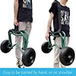 """Codinter Kayak Cart, Canoe Dolly Trolley for Carrying Kayaks Boats Paddleboard Transport – Green 12 📌【Carrier Type】This kayak cart is able to universal carrying kayaks, canoes, paddleboards which width less than 80cm (31"""") are the best fit, but NOT for transporting inflatable boats 📌【Stable Structure】 Four quality powder-coated aluminum tubes compose the kayak trolley with the stainless steel hardware that's meant to stand the test of time. Powerful & durable frame reliably capacity 165 lbs., rubber padding on the frame for hull protection 📌【Foldable and Portable】Foldable trailer is easy to be carried by hand or your shoulder, also can be stored in the trunk of a car for convenient portability"""