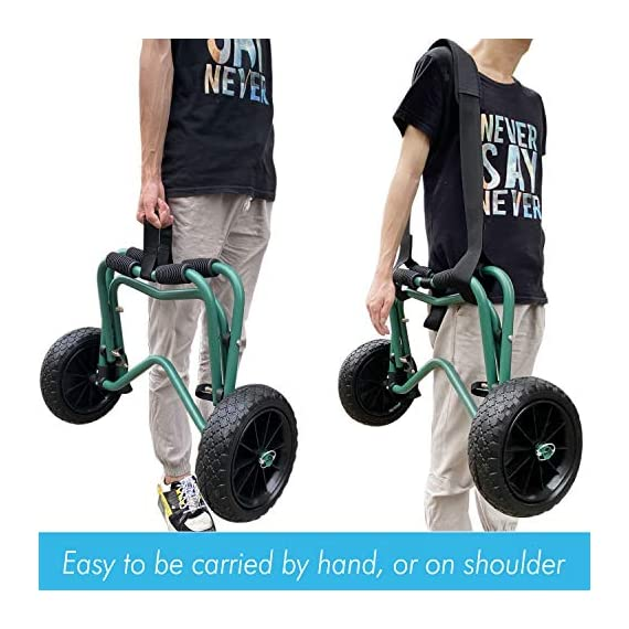 """Codinter Kayak Cart, Canoe Dolly Trolley for Carrying Kayaks Boats Paddleboard Transport – Green 5 📌【Carrier Type】This kayak cart is able to universal carrying kayaks, canoes, paddleboards which width less than 80cm (31"""") are the best fit, but NOT for transporting inflatable boats 📌【Stable Structure】 Four quality powder-coated aluminum tubes compose the kayak trolley with the stainless steel hardware that's meant to stand the test of time. Powerful & durable frame reliably capacity 165 lbs., rubber padding on the frame for hull protection 📌【Foldable and Portable】Foldable trailer is easy to be carried by hand or your shoulder, also can be stored in the trunk of a car for convenient portability"""