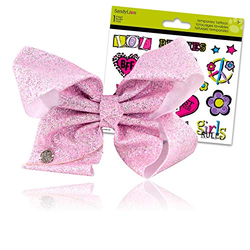 JoJo Siwa Bows Signature Collection Hair Bows for Girls - JoJo Bow Bundled with Best Friends Forever BFF Temporary Tattoos (Jojo Siwa Pink Shimmer Glitter Hair Bow Large)