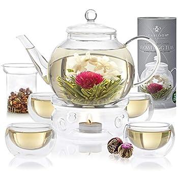 Teabloom Celebration Complete Tea Set – Stovetop Safe Glass Teapot  40 OZ / 1.2 L  with 4 Double-Wall Glass Teacups Tea Warmer Removable Loose Tea Glass Infuser & 12 Flowering Teas