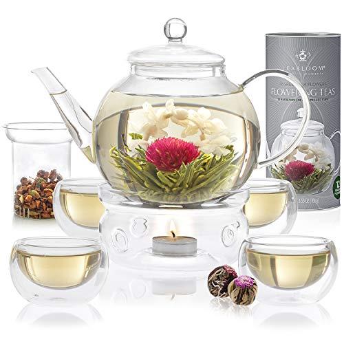 Teabloom Celebration Complete Tea Set – Stovetop Safe Glass Teapot (40 OZ / 1.2 L) with 4 Double-Wall Glass Teacups, Tea Warmer, Removable Loose Tea Glass Infuser & 12 Flowering Teas