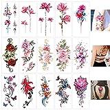 Keleily Tatuajes Temporales de Flores 15 Hojas Tatuajes Falsos Temporales para Adhesivos para Adultos Body Art Tattoo para Mujeres, Niñas, Brazos, Piernas, Espalda, Rosa, Rojo