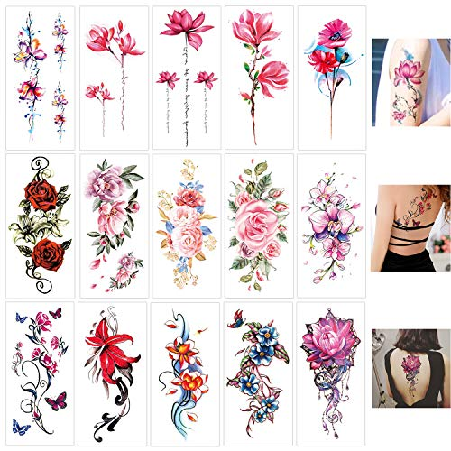 Keleily Blumen Temporäre Tätowierungen 15 Blatt Temporäre Tattoos Aufkleber Haut Wasserfest für Erwachsene Body Art Tattoo Aufkleber für Frauen, Mädchen, Arme, Beine, Rücken, Pink, Rot