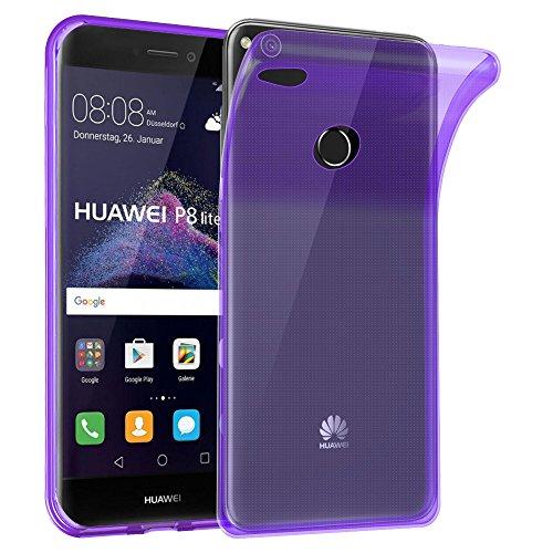 Cadorabo Funda para Huawei P8 Lite 2017 en Transparente Lila – Cubierta Proteccíon de Silicona TPU Delgada e Flexible con Antichoque – Gel Case Cover Carcasa Ligera