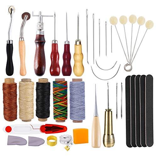 KA MAI KA Leren gereedschapsset, 36 stuks, leer, handnaaien, doe-het-zelf gereedschap voor het naaien van leer, handgereedschap, handnaaigereedschap, starterkit met Ahle, verzinker, garen