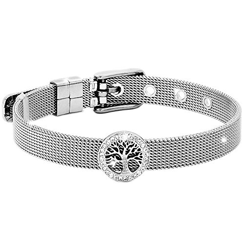 Beloved ❤️ Women's Bracelet - Steel & Crystal Bracelet with Semi-rigid Watch-type Strap and Buckle Clasp - Adjustable Length with Charm Stelle Silver E Gold