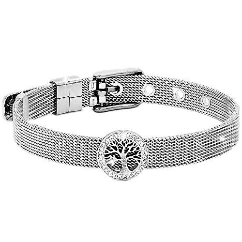 Beloved Bracciale da donna, braccialetto acciaio e cristalli con cinturino semirigido tipo orologio e chiusura a fibbia, lunghezza regolabile con charm (Albero della vita)