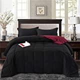 HIG 2pc Down Alternative Comforter Set - All Season Reversible Comforter with Sham - Quilted Duvet Insert with Corner Tabs -Box Stitched – Hypoallergenic, Soft, Fluffy(Twin/Twin XL, Black/Burgundy)