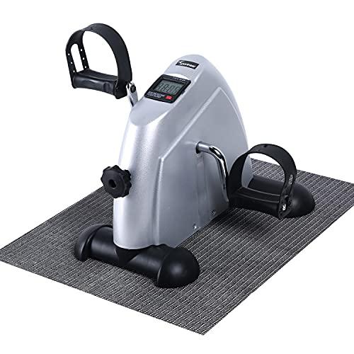 Sportneer Under Desk Bike Mini cyclette portatile a pedale con monitor digitale e tappetino antiscivolo, resistenza regolabile, Argento