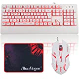 BlueFinger Gaming Keyboard and Mouse,LED Backlit Keyboard and Mouse Combo,USB Wired Keyboard with Ergonomic Wrist Rest for Game and Work - Keyboard Mouse Mouse Pad Set (White)