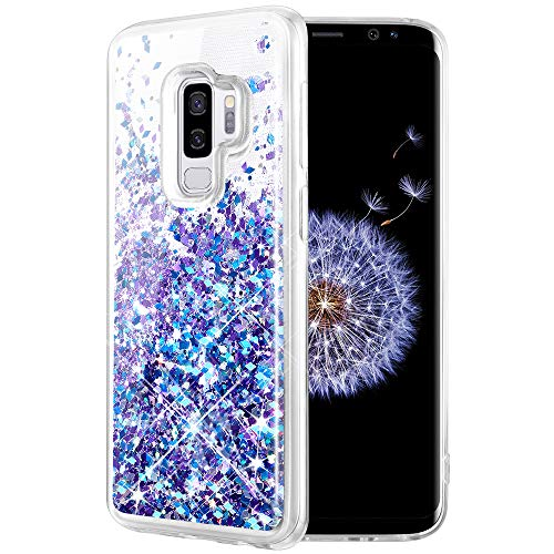 Caka Galaxy S9 Plus Case, Galaxy S9 Plus Glitter Case Liquid Series Luxury Fashion Bling Flowing Liquid Floating Sparkle Glitter Soft TPU Case for Samsung Galaxy S9 Plus (Blue Purple)