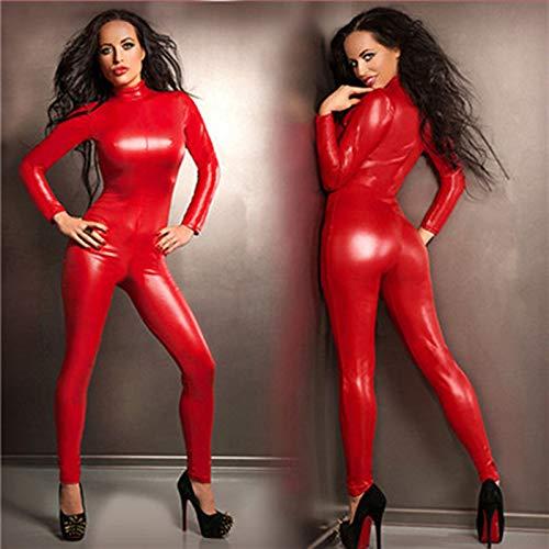 S-4XLWomen Sexy Rotes Kunstleder Latex Exotische Catwoman Kostüm Erwachsene Catsuits Cat Suit Vorne Mit Reißverschluss Zum Schritt Kleidung,Red,S