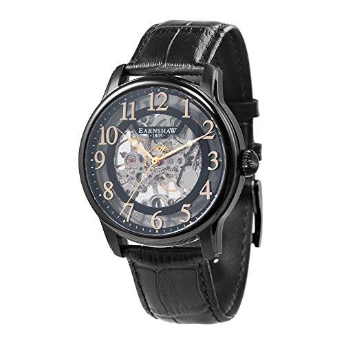 Thomas Earnshaw Longitude ES-8062-08 mechanisch herenhorloge, zwarte wijzerplaat met skeletweergave, zwarte leren armband