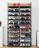 ORAF 10 Tier Shoe Rack 69' Sturdier Structure Adjustable, 50 Pairs Shoe Shelf Big Organizer, Sturdy DIY Shoe Stand Storage Sneaker Tower Tall for Door Floor Closet, 35.83L 11.22W 68.90H inch (Black)