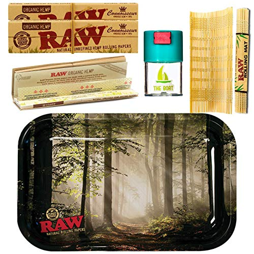 Kit para fumar Raw bandeja para liar Bosque 27,5cm x 17,5cm + RAW Organic Kings Size (3 unidades) + Bote antiolor + RAW Liadora de Bambú - Pack dirigido a tabaco de liar