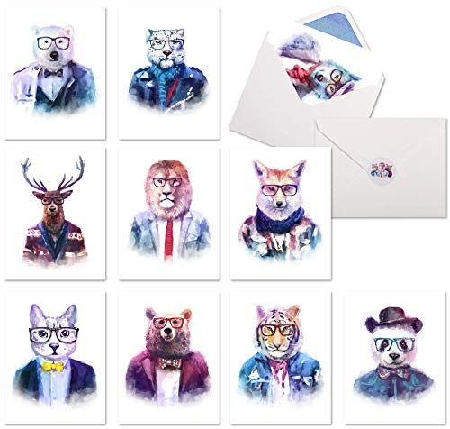 10 Watercolor Animal Stationary Cards | Blank Funny Note Cards Assortment Set | Whimsical, Unique & Fun Wildlife Greeting Cards for All Occasions.