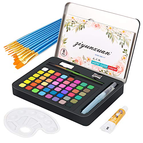 Cohotek Watercolor Paint Set with 48Vivid Colors, Travel Watercolor Pan Set with Water Brush Pen, Watercolor Brush Set, Palette, Watercolor Papers etc. Watercolor Kit for Adults, Students, Beginners
