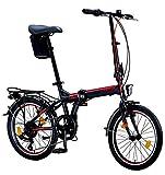 Licorne Bike Bicicleta plegable prémium Conseres de 20 pulgadas, para hombres, niños, niñas y mujeres, cambio Shimano de 6 velocidades, bicicleta holandesa, color negro y rojo