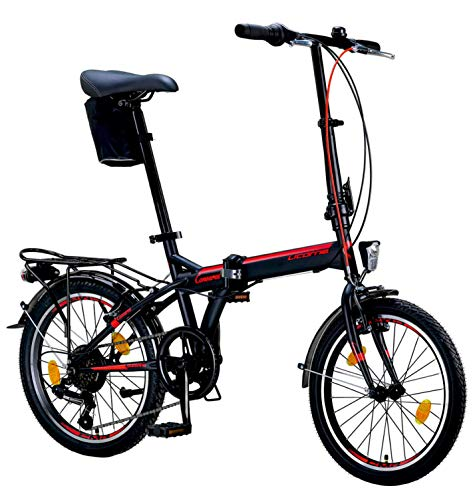 Licorne Bike CONSERES Premium Faltrad, Klapprad in 20 Zoll - Fahrrad für Herren, Jungen, Mädchen und Damen - Shimano 6 Gang-Schaltung - Hollandfahrrad - Schwarz/Rot