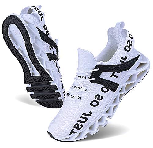 Wonesion Herren Fitness Laufschuhe Atmungsaktiv Rutschfeste Mode Sneaker Sportschuhe, ,, 1-weiß, 47 EU