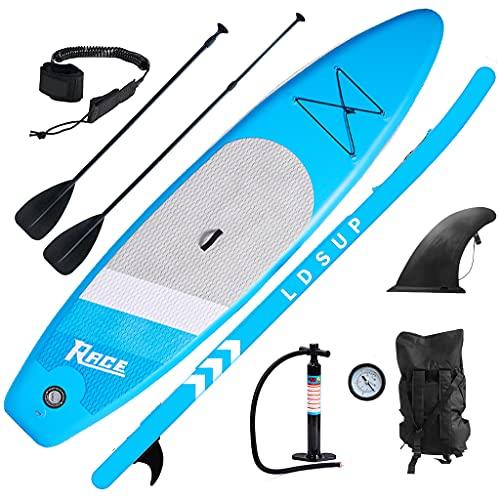 lucear Tavola Gonfiabile Paddle Board Stand Up SUP Nero Pagaia in PVC Include Pompa Borsa da Trasporto e Accessori Surfboard Tavola Paddle con Sedile Max 120 kg