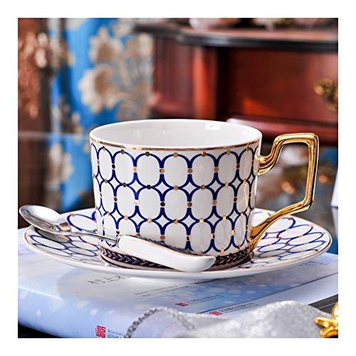 Generic002 Inglés Cerámica Hora del té Sistema de té de China de Hueso de la Taza de café y un Plato con Cuchara Estilo Europeo Taza de café Set Casa (Color : B)