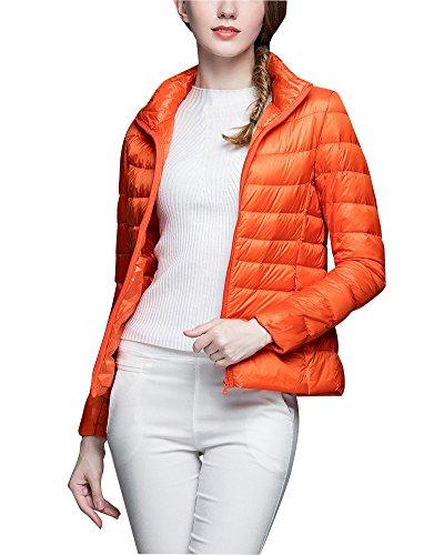 ZhuiKun Damen Daunenjacke Ultra Leicht Steppjacke Daunenmantel Winter Mantel Übergangsjacke Orange 3XL